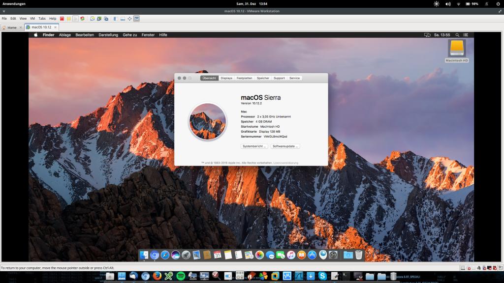 Running Apple OSX 10 12 2 macOS Sierra in VM VMware